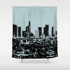 Downtown Los Angeles Skyline - Stamp Pattern on Light Blue Shower Curtain