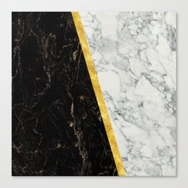 Black and White Marble Gold Split Canvas Print
