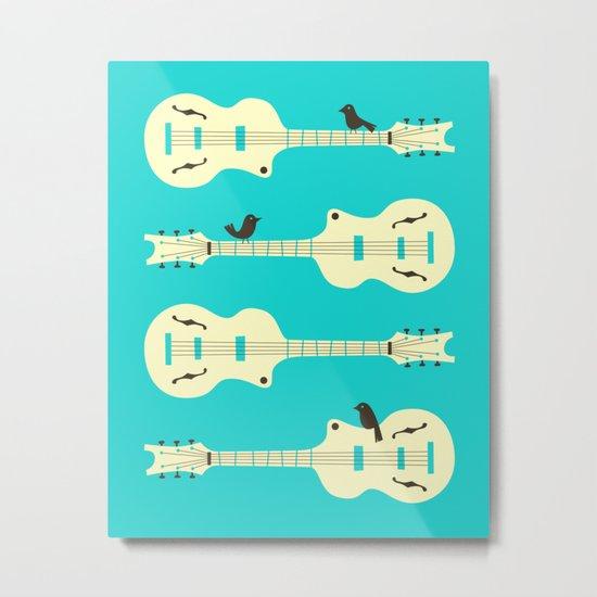 Birds on Guitar Strings Metal Print