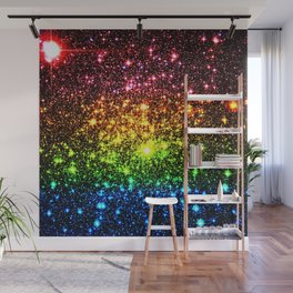 Rainbow Sparkle Galaxy Stars Wall Mural