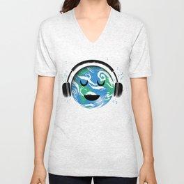 The whole planet loves music Unisex V-Neck
