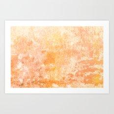 Marbling structur in warm orange tones Art Print