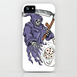 Grim Reaper Throwing the Dice Drawing Color iPhone Case