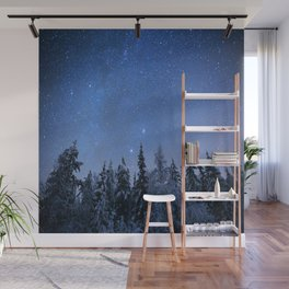 Shimmering Blue Night Sky Stars 2 Wall Mural