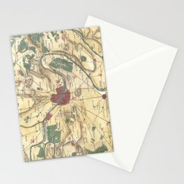 Vintage Map of Paris and Surrounding Areas (1780) Stationery Cards