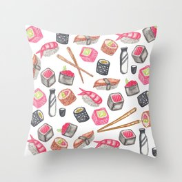 Cute Trendy Watercolor Sushi Sake and Chopsticks Throw Pillow