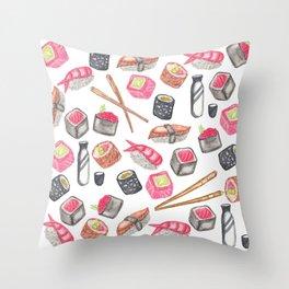 Cute Trendy Watercolor Sushi Sake and Chopsticks Throw Pillow