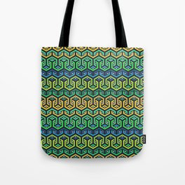 Looped Hexagons Geometric Pattern - Green/Blue Tote Bag