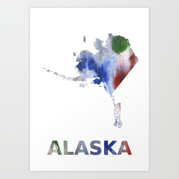 Alaska Map Outline Bright Multicolored Nebulous Watercolor Art Print