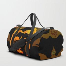 Illustration Buddha Head orange black design Duffle Bag