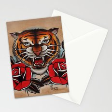 Old School Tiger and roses - tattoo Stationery Cards