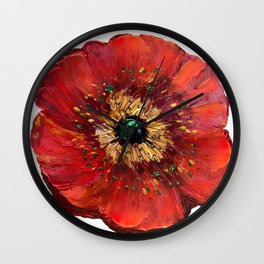 Red Poppy Wall Clock