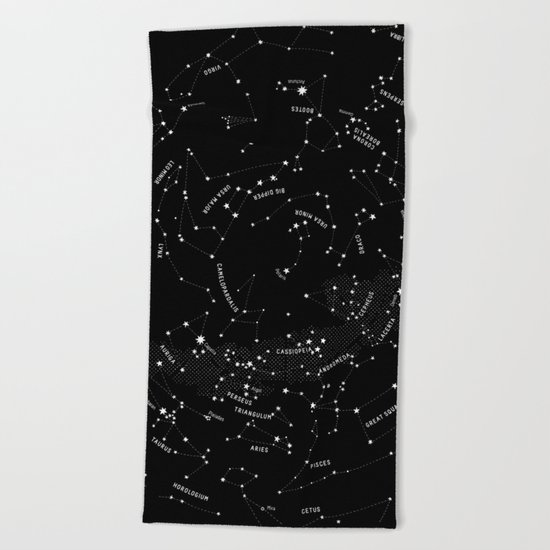 Constellation Map - Black Beach Towel