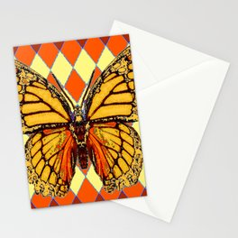 MONARCHS BUTTERFLY  &  ORANGE-BROWN HARLEQUIN PATTERN Stationery Cards