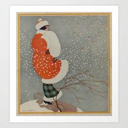 Vintage Christmas Lady in Blowing Snow (1914) Art Print