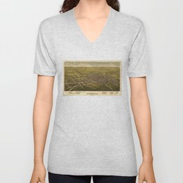 Aerial View of Somerville, New Jersey (1882) Unisex V-Neck