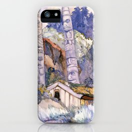 Emily Carr - Haida Totems, Cha-atl, Queen Charlotte Island - Canada, Canadian Oil Painting iPhone Case