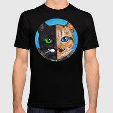 Venus - Cats with Moustaches Mens Fitted Tee Black X-LARGE