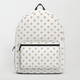 Mini Gold Metallic Faux Foil Photo-Effect Bees on White Backpack