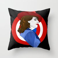 agent carter Throw Pillows featuring Agent Carter by fabulosaurus