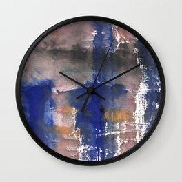 Pink blue watercolor Wall Clock