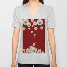WHITE CASCADING DAISIES ON BURGUNDY Unisex V-Neck