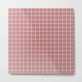 Old rose - pink color - White Lines Grid Pattern Metal Print