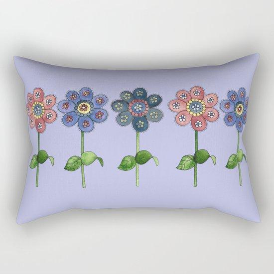 Flower Row Rectangular Pillow