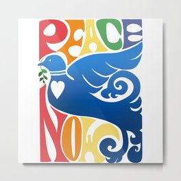 Peace Now Dove And Vintage Rainbow Metal Print