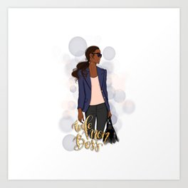 Wife Mom Boss | African American Lady Boss Art Print