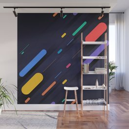 Multicolor shapes on black backround Wall Mural
