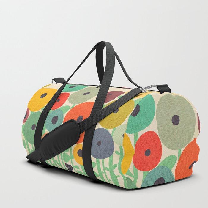 Cat in flower garden Duffle Bag