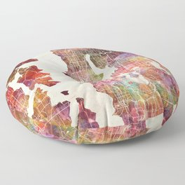 Seattle map Floor Pillow