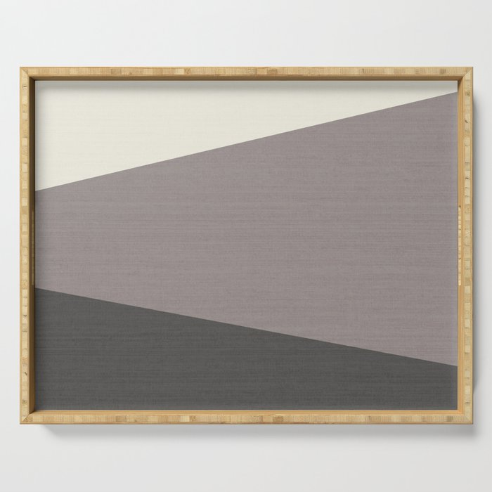 Tricolor Split Diagonally Geometric Grey Serving Tray