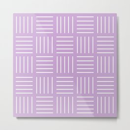 Abstract geometric pattern - purple and white. Metal Print