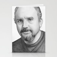 louis ck Stationery Cards featuring Louis CK Portrait by Olechka