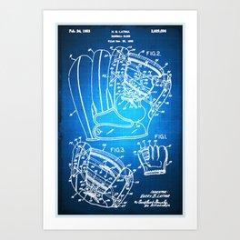 Baseball Glove Patent Blueprint Drawing Art Print