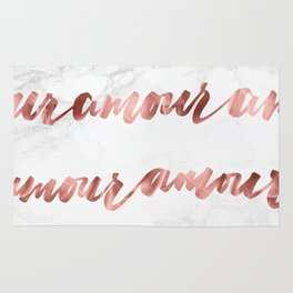 Amour Rose Gold Marble Love Quote Typography Rug