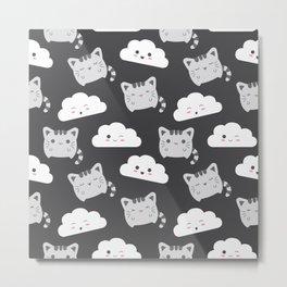 Cute Cat & Cloud Metal Print