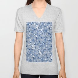 Modern royal blue white hand painted watercolor floral Unisex V-Neck