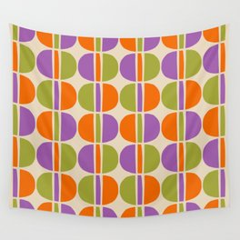 Mid Century Modern Geometric Pattern 151 Beige Orange Olive and Purple Wall Tapestry
