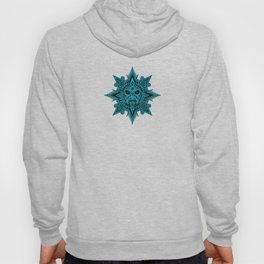 Ancient Blue and Black Aztec Sun Mask Hoody