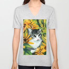Sunflower cat Unisex V-Neck
