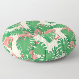 Flamingo in Tropical Forest Floor Pillow