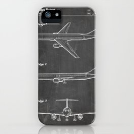 Boeing 777 Airliner Patent - 777 Airplane Art - Black Chalkboard iPhone Case