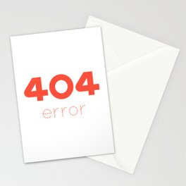 ERROR 404 red Stationery Cards