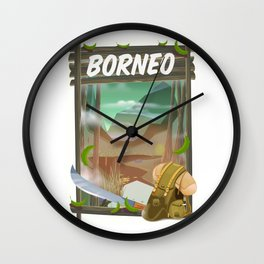 Borneo Jungle poster. Wall Clock