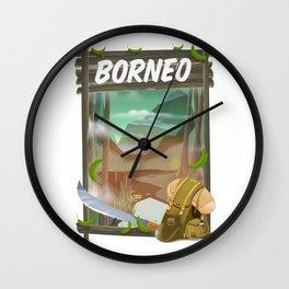 Borneo Jungle poster. Wall Clock