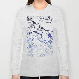Modern white marble blue ombre navy blue watercolor gradient fade Long Sleeve T-shirt