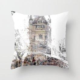 London map - Tower Bridge painting Throw Pillow